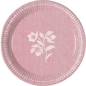 TEXTURE PINK FLOWERS PAPER PLATES 20CM 8CT