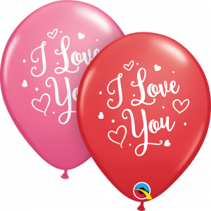 11 INCH LATEX I LOVE YOU HEARTS SCRIPT 50CTP