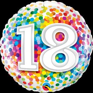 18 INCH FOIL AGE 18 RAINBOW CONFETTI 1CTP