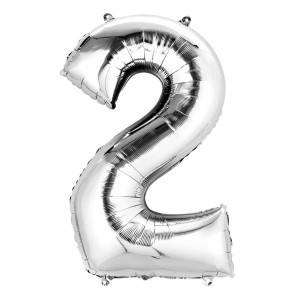 12 INCH AIRFILLED SILVER FOIL BALLOON 2 1CTP