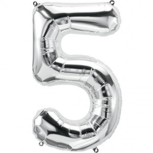 12 INCH AIRFILLED SILVER FOIL BALLOON 5 1CTP