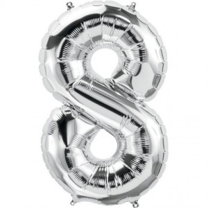 12 INCH AIRFILLED SILVER FOIL BALLOON 8 1CTP