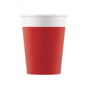 ECO COMP IND RED PAPER CUPS 200ML 8CT
