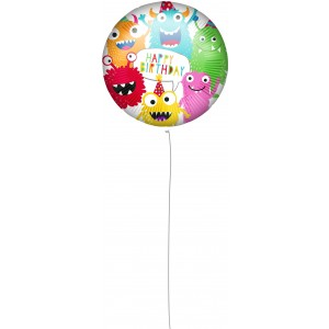 18 INCH AIR-HELIUM FOIL  BIRTHDAY MONSTERS 1CTP