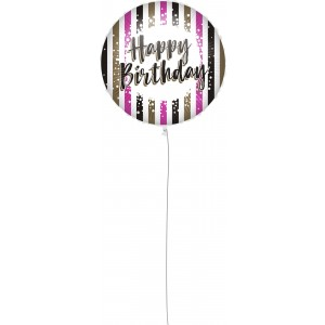 18 INCH AIR-HELIUM FOIL  BIRTHDAY PINK 1CTP