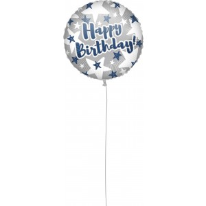 18 INCH AIR-HELIUM FOIL BDAY BLUE SILV STAR 1CTP