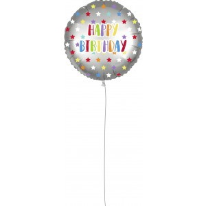 18 INCH AIR-HELIUM FOIL  BDAY SILVER STARS 1CTP