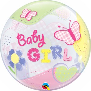 22 INCH SINGLE BUBBLE BABY GIRL BUTTERFLIES 1CTP