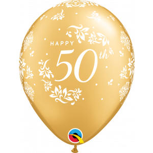 11 INCH LATEX  GOLD  50TH ANNIVERSARY 50CTP