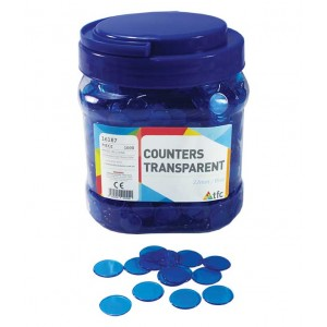 TFC-COUNTERS 22MM TRANSPARENT BLUE 1000P
