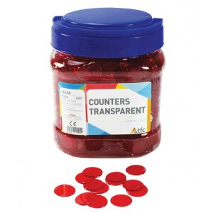 TFC-COUNTERS 22MM TRANSPARENT RED 1000P