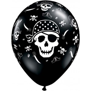 11 INCH LATEX RND ONYX BLK PIRATE SKULL 50CTP