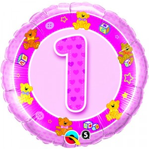 18 INCH FOIL AGE 1 PINK TEDDIES RND 1CTP