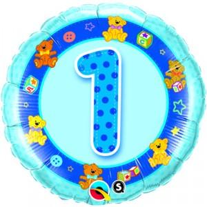 18 INCH FOIL AGE 1 BLUE TEDDIES RND 1CTP