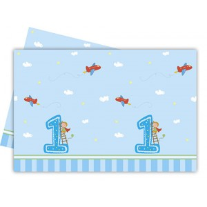 BOY FIRST BDAY-PLASTIC TABLECOVER 120X180CM 1CT