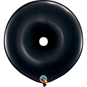 16 INCH LATEX GEO DONUT ONYX BLACK 25CTP