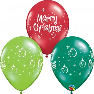 11 INCH LATEX AST MERY XMAS ORNAMENTS 50CTP