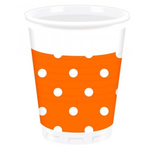 ORANGE DOTS PLASTIC CUPS 200ML 8CT