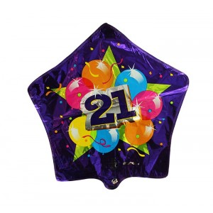 20 INCH FOIL 21 SPARKLING BALLOONS 1CTL