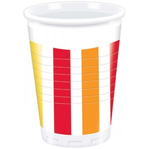 PEPPER STRIPES PLASTIC CUPS 200ML 10CT