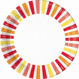 PEPPER STRIPES PAPER PLATE LARGE 23CM 10CT