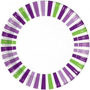 GRAPE STRIPES PAPER PLATES LARGE 23CM 10CT