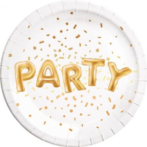 GOLD PARTY PAPER PLATES LARGE 23CM 8CT
