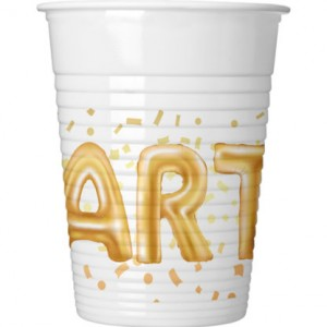 GOLD PARTY PLASTIC CUPS 200ML 8CT