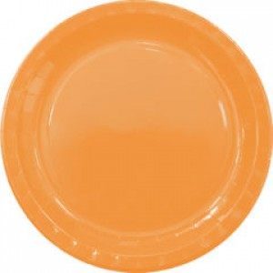 ORANGE PAPER PLATES LARGE 23CM 8CT