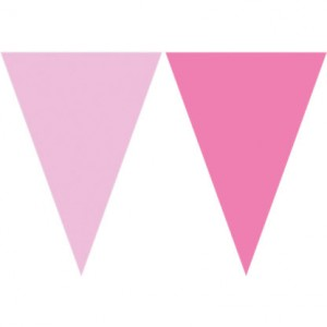 TRIANGLE FLAG BANNER PINK AND FUCHSIA 1CT