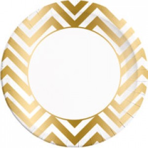 GOLD CHEVRON PAPER PLATES LARGE 23CM 8CT