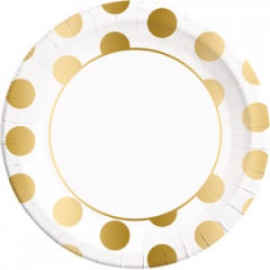 GOLD DOTS PAPER PLATES LARGE 23CM 8CT