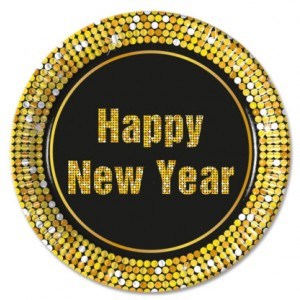 HAPPY NEW YEAR PAPER PLATES LARGE 23CM 8CT