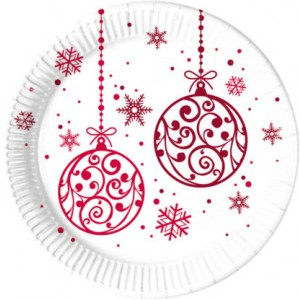 XMAS RED BALLS PAPER PLATES LARGE 23CM 8CT