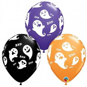11 INCH LATEX AST EMOTICON GHOSTS 50CTP