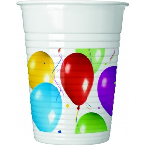 BALLOONS FIESTA PLASTIC CUPS 200 ML 10CT