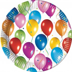 BALLOONS FIESTA PAPER PLATES LARGE 23CM 10CT