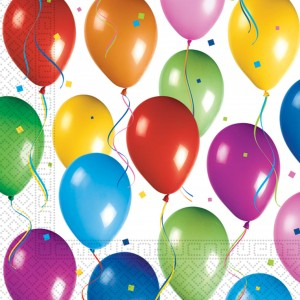 BALLOONS FIESTA TWO PLY PAPER NAPKINS 33X33CM 20CT
