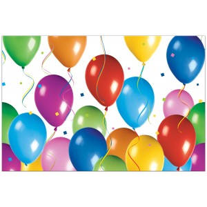 BALLOONS FIESTA PLASTIC TABLECOVER 120X180CM 1CT
