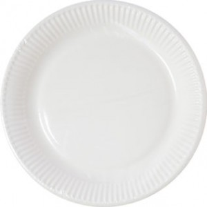 WHITE IND COMPOSTABLE PAPER PLATES 23CM 10CT