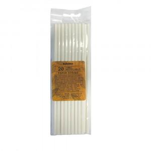 WHITE PAPER DRINKING STRAWS 19.5X0.5CM 20CT
