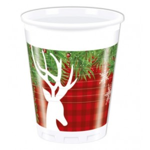 XMAS SCANDI DEER PLASTIC CUPS 200 ML
