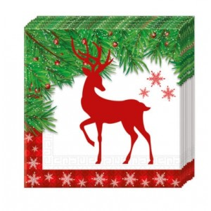 XMAS SCANDI DEER THREE PLY PAPER NAPKINS 33X33CM