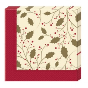 HOLLY CHRISTMAS THREE PLY PAPER NAPKINS 20CT
