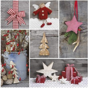 THREE PLY NAPKINS CHRISTMAS WOODEN ORNAMENTS 20CT