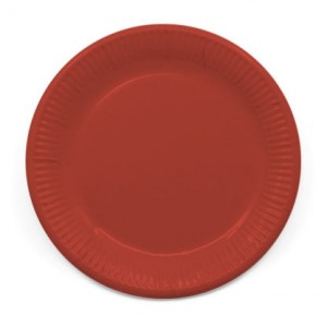 ECO COMP IND RED PAPER PLATES LARGE 23CM 8CT