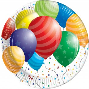 BALLOONS CELEBRATION PPR PLATES LRG METALLIC 8CT.