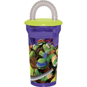 TMNT FIGHTERS FLEXIBLE STRAW TUMBLER