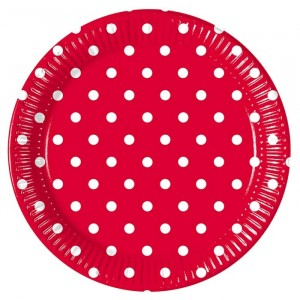 RED DOTS PAPER PLATE LARGE 23CM 10CT