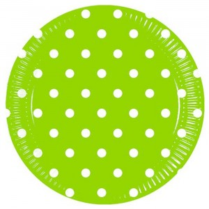 GREEN DOTS PAPER PLATE LARGE 23CM 8CT